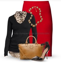 I love this red pencil skirt and adorable leopard blouse with black cardigan  and accessories! I so so so want these in my closet like now LOVE THEM!! Perfect for meeting and field service