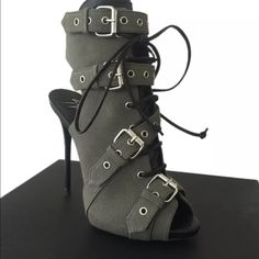 Giuseppe Zanotti military canvas buckle pumps 37.5 Brand new with box , authentic , military canvas , leather trimmed , 37.5 or 7.5 - authentication card in box with matching serial number on boot Giuseppe Zanotti Shoes