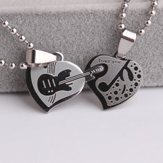 Double heart Guitar music Stainless Steel pendant necklaces for women wholesale jewelry Music Jewelry, Cute Jewelry, Jewelry Accessories, Jewelry Design, Unique Jewelry, Jewelry Logo, Glass Jewelry, Jewelry Gifts, Silver Jewelry