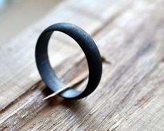 Black Wedding Band. Mens Oxidised Ring. Modern Contemporary Simple Sleek Elegant Design. Sterling Silver. Jewellery. Jewelry.. $77.00, via Etsy.