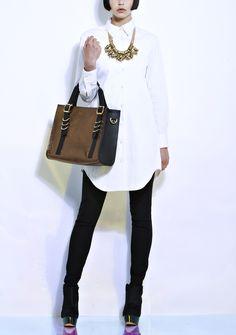 White Shirt Dress, black leggings, black booties, gold necklace