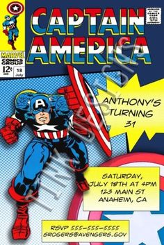 Invitations-Captain-America-Birthday-party-favors-Avengers