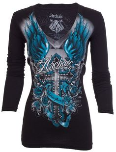 Archaic AFFLICTION Womens LS T-Shirt ROSEMARY Biker BLACK TEAL Sinful UFC  $58