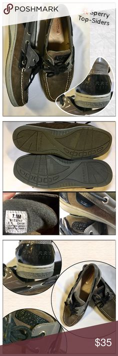 🆕SPERRY Custom Leather Top-Sider's Sperry brown & leather topsiders. Custom order. Sz 7 in EUC. See photos for detailed description. These are in excellent shape. The name is embossed In several places. Beautiful shoe! Sperry Top-Sider Shoes Flats & Loafers
