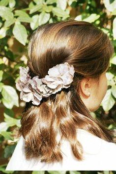 Tiara hortensias grises y tonalidades topo