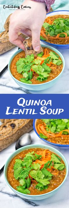 Quinoa Lentil Soup – full of protein, vegan, gluten free makes an amazing dinner or lunch, with just 6 ingredients and in 2 easy steps so easy.