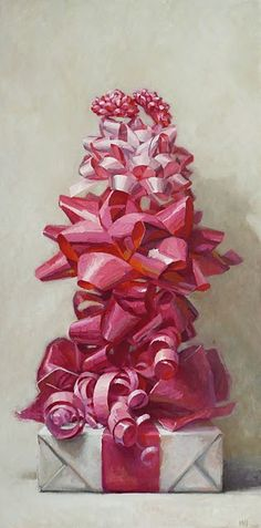 I would be too happy if i got a gift with this many pink bows on it