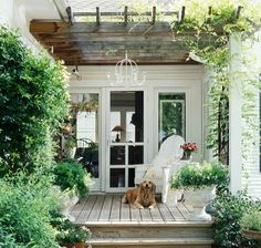 Patio and Pergola: Love the gate with vining--could work between the garage and ., Patio and Pergola: Love the gate with vining--could work between the garage and future porch. Also, the chandelier is an incredible addition to the de. Outdoor Retreat, Outdoor Rooms, Outdoor Gardens, Outdoor Living, Outdoor Decor, Outdoor Sheds, Deck Design, Garden Design, Terrace Design