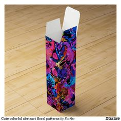 Shop Cute chic abstract flowers background wine gift box created by ForArt.