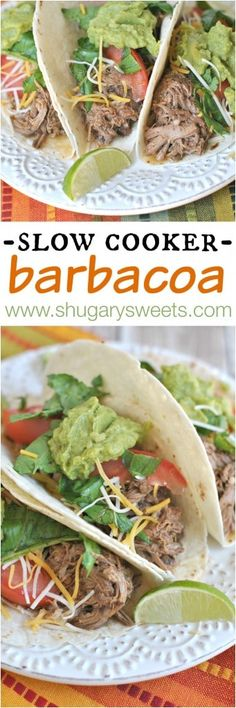 Crockpot Barbacoa recipe: easy, delicious...better than your take out version! Served with a homemade cilantro-lime rice recipe!