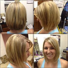 Angled bob, A-line bob, with blonde hilites and light brown lolites
