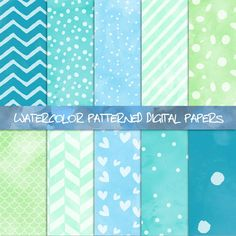 Minty turquoise digital papers: #watercolor and #pattern