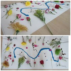 Reggio Emilia inspired provocation. Paint with flowers. *Flower donation
