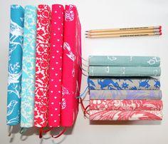 cuadernos y libretas de lona o lino estampado. con hojas lisas o rayadas L&R HANDCRAFT