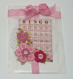 From Beth-A-Palooza: I love the Bingo card printed on the pink gingham cardstock.
