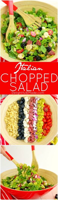 If you love Italian anitpasto, then this chopped salad recipe will be right up your alley! Loaded with fresh romaine lettuce, mozzarella, olives, salami and more, this incredible anitpasto salad will quickly become a family favorite for every potluck, cookout, and picnic this summer. Even better than the famous Olive Garden salad!
