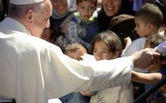 """Declaring """"we are all migrants,"""" Pope Francis on Saturday brought a message of hope to thousands of people facing expulsion from Greece as he slammed the world community for failing to end the wars fueling the crisis. Religion, Refugee Crisis, Message Of Hope, Vatican City, Greece Travel, Greek Islands, Rome, Catholic, Bring It On"""