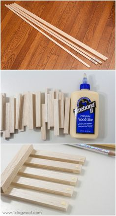 wooden pallet coasters from dowels | www.1dogwoof.com- using square dowels from Micheals