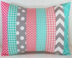 Nursery Cushion Cover, Patchwork Pillow Cover, Nursery Decor, 12 x 16 Inches… Teal Nursery, Nursery Decor, Throw Pillow Covers, Throw Pillows, Patchwork Pillow, Home Goods Decor, Grey Chevron, Girl Room, Baby Love