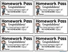 14 Best Homework Pass Images Homework Pass Classroom Organization