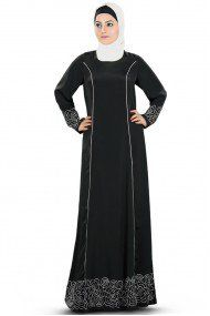 Crepe and Polyester Embroidery Party Wear Abayas in Black Colour