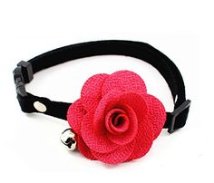 PETFAVORITES™ Couture Designer Rose Flower Suede Leather Bow Tie Pet Cat Dog Collar Necklace Jewelry with Bell Charm for Pets Cats Small Medium Large Dogs Female Puppy Chihuahua Yorkie Girls Costume Outfits, Adjustable and Handmade ** Visit the image link more details. (This is an affiliate link and I receive a commission for the sales)