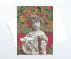 Enchanting Christmas Card with Victorian Little Girl  by rhodyart, $4.50