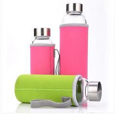 SGS Hot Selling Glass Sport Water Bottle With Protective Bag 280ml / 350ml / 500ml Fruit Outdoor Bike Bottles Hight Qualtiy