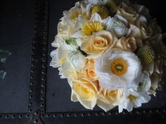 Spring Time Buttery Yellow and White Bouquet with Craspedia, Roses, Ranunculus, Narcissus by Anna Mara Flowers