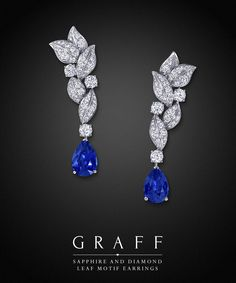 Sapphire Earrings Graff Diamonds: Sapphire and Diamond Leaf Motif Earrings Good, Great, or just OK? Sapphire Necklace, Sapphire Jewelry, Sapphire Earrings, Diamond Jewelry, Diamond Necklaces, Gold Necklaces, Ruby Diamond Rings, Emerald Rings, Gemstone Earrings