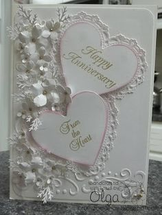 Timeless Amour Die from Heartfelt Creations heart Wedding Cards Handmade, Beautiful Handmade Cards, Wedding Gifts, Wedding Anniversary Cards, Happy Anniversary, Anniversary Ideas, Wedding Shower Cards, Heartfelt Creations Cards, Engagement Cards