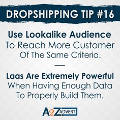 Use Lookalike audience to reach more Customers of the same criteria. Las is extremely Powerful when having Enough Data to properly build them. DM us to start your online dropshipping business. #business #onlinebussines #businessideas #businessinspiration #dropshiper #droppingsoon #shopifydropshipping #foryou #shopifydesigner Drop Shipping Business, To Reach, Business Inspiration, Digital Marketing Services, Look Alike, Web Design, Branding, Writing, Tips