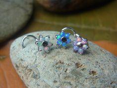 20 Gauge Opal Gems flower nose stud/nose by PiercingRoomByJay