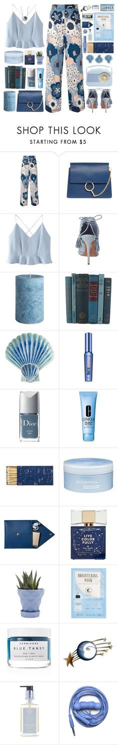"""""""Blue dreams"""" by doga1 ❤ liked on Polyvore featuring Chloé, WithChic, Aquazzura, Pier 1 Imports, Juliska, Benefit, Christian Dior, Clinique, Jayson Home and Aveda"""