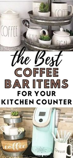 8 Coffee Bar Ideas for The Kitchen Counter for All Coffee Loving Moms - Habitat For Mom Coffee Station Kitchen, Coffee Bars In Kitchen, Coffee Bar Home, Coffee Nook, Coffee Corner, Coffee Time, Coffee Stations, Coffee Bar Ideas, Coffee Area