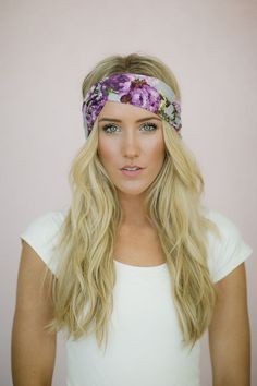 Floral Turband HeadBand Knit Hair Band Stretchy Women's Hair Wrap Knit Fashion Accessory Purple and Gray, $18.00