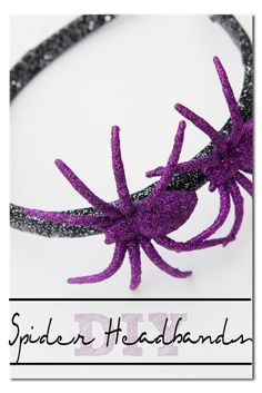 DIY Glitter Spider Headbands