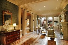 The main room . Romanesque Revival mansion, St. Charles Avenue, New Orleans, LA