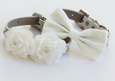 White Wedding Dog Collars, Bow tie and Floral Dog Collar, High Quality, Wedding dog accessory. Two dog collars. $64.99, via Etsy.