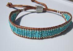 NETA_PORTER BRACELET. Turquoise and silver-beaded leather bracelet. БИРЮ...