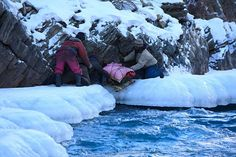 A frozen lake in Zanskar ladakh India. Trekkers dream