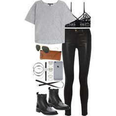 inspired outfit for brunch by whathayleywore on Polyvore featuring rag & bone, J Brand, ELSE, Yves Saint Laurent, Forever 21, J.Crew, Ray-Ban and H&M