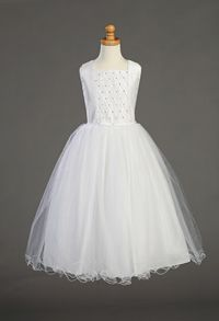 Flower Girl Dresses -First Holy Communion/Flower Girl Style SP927- Shantung Tucked Bodice with Rhinestone Accents