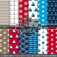 """Nautical digital paper: """"RED & BLUE NAUTICAL"""" patterns with anchors, wheels, starfish, boats, waves, stripes in red and blue"""