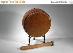 SALE Drum And Drum Stick Vintage Oriental Drum Display And Custom Stick Nursery Home Decor Toy Working Drum Circle Free Shipping