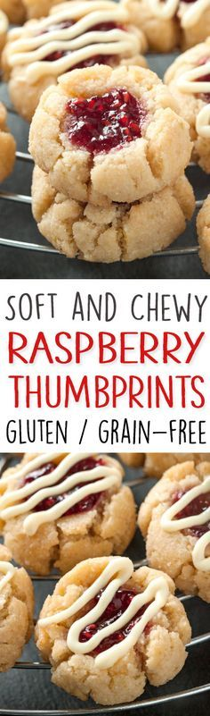 Soft and Chewy Raspberry Thumbprint Cookies – Great with almond or lemon extracts! grain-free, gluten-free, dairy-free (use coconut sugar instead)