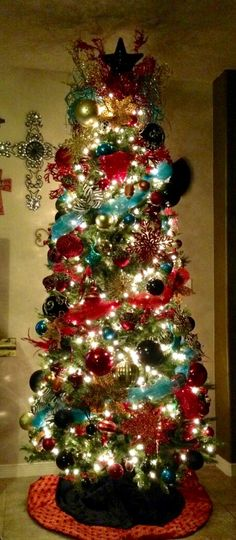 Red gold turquoise on pinterest red yellow turquoise for Red and yellow christmas tree
