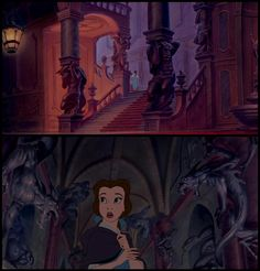 The majority of the sculptures seen in the castle are different earlier versions of the Beast.