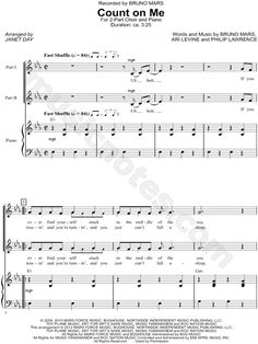 Print and download choral sheet music for Count on Me by Bruno Mars arranged for 2-Part Choir + Piano in Eb Major.