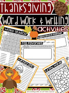 Thanksgiving Word Work Activities and Work on Writing Prompts - NO PREP